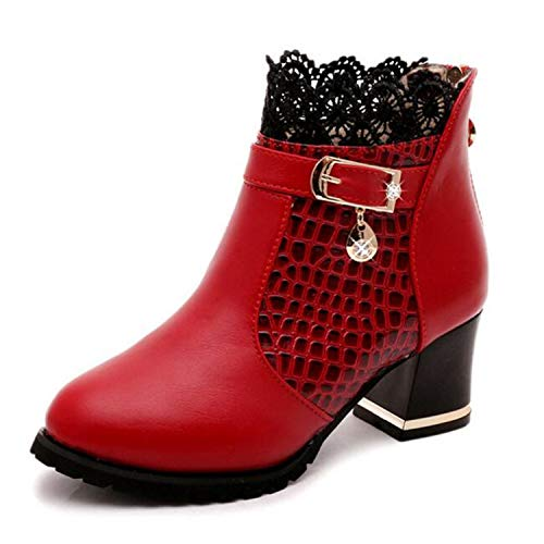 Snake Pattern Ankle Boots Sexy Lace Cuff Thick Heel Boots Fa