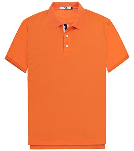 Innersy Men's Classic Fit Stretch All Cotton Solid Pique Polo Shirts (XXXL, Orange) (Pique Mens Polo Solid)