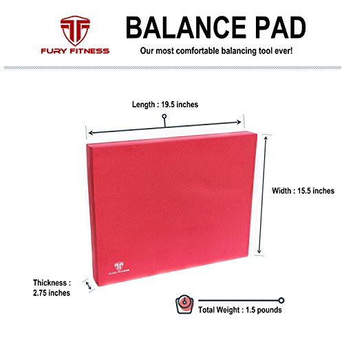 Fury Fitness Foam Balance Pad X Large Non Absorbent Perfect as Yoga Knee Pads Meditation Cushion Rehab Standing Desk Mat
