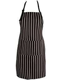 Take APRN-032-Chefs Professional Black and White Stripe Apron with Double Pockets offer