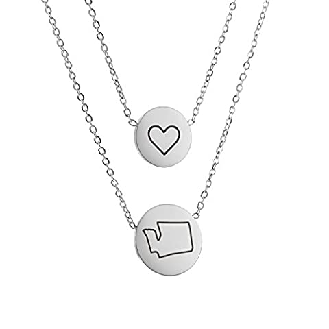 HUAN XUN Washington WA State Map Necklace with Heart Disc Pendant Necklace Double Chain Stainless Steel - Seattle Seahawks Disc