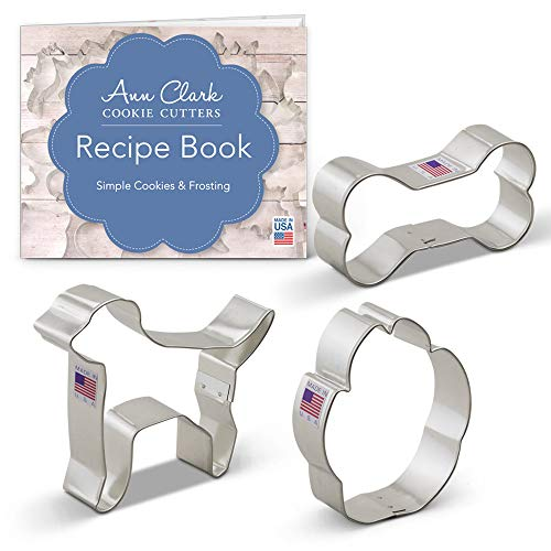Print Cookie Cutter - Ann Clark Cookie Cutters 3-Piece Dog Cookie Cutter Set with Recipe Booklet, Labrador Dog, Paw Print, and Dog Bone