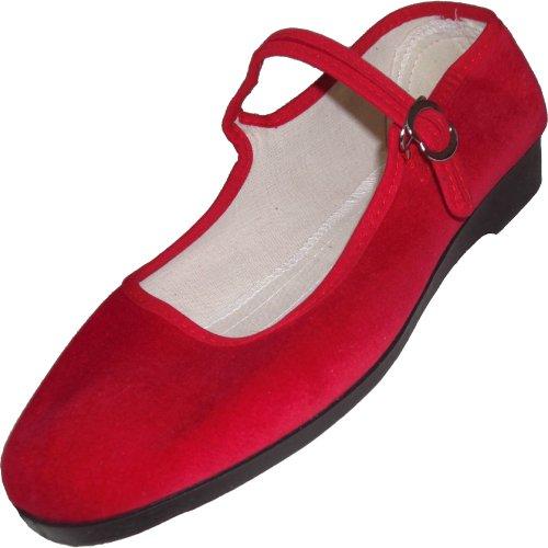 MIK Funshopping - Zapatos con hebilla de algodón para mujer Rojo