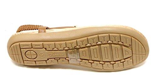 Evigt Calista-84 Kvinna Gyllene Kul- Och Hjärt Dekor T-rem Elastisk Fotled Rem Rem Sandaler Tan 6,5