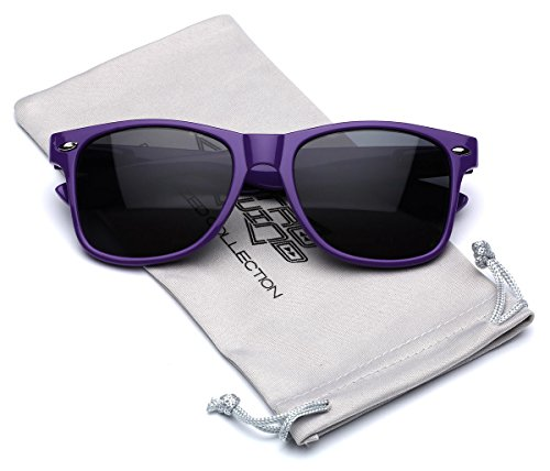 Classic Retro Fashion Sunglasses - Neon Frame with Dark Black - Dark Purple Glasses