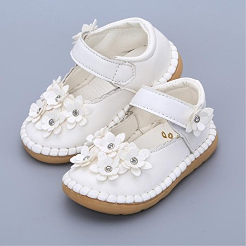 AiStickQ Little Mae's Boutique Squeaky Shoes | Crystal Flowers Mary Jane Toddler Girl Shoes | Premium Quality White 12-18m -