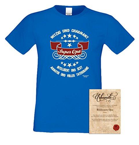 Großvater Fun-T-shirt als Top Geschenk mit GRATIS Urkunde - Super Opa Farbe: khaki Gr: M