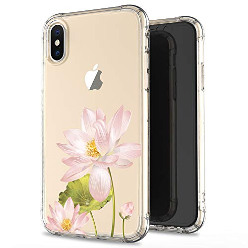 JIAXIUFEN Clear Case Cute Girl Pink Lotus Slim Shockproof Flower Floral Desgin Soft Flexible TPU Silicone Back Cover Phone Case for iPhone Xs Max 2018 6.5 inch
