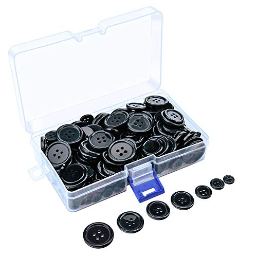 Sunmns 160g Buttons Round Resin Sewing Button with Storage Box, 4 Holes 7 Sizes (Black)