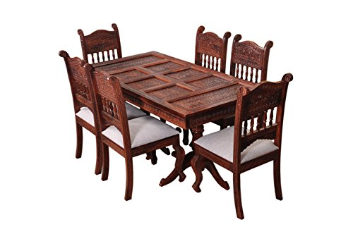 Induscraft INAF246 6 Seater Dining Table Set  Lacquered Finish, Cherry