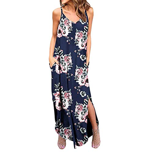 Women's Spaghetti Strap Dress - Bohemia Floral Print Maxi Dresses Side Split Casual Loose Midi Dress with Pocket Navy