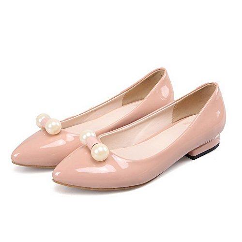 Heel Solid Pull punta en On No con PU Nude VogueZone009 zapatos cerrada punta cerrada qdtwXHX