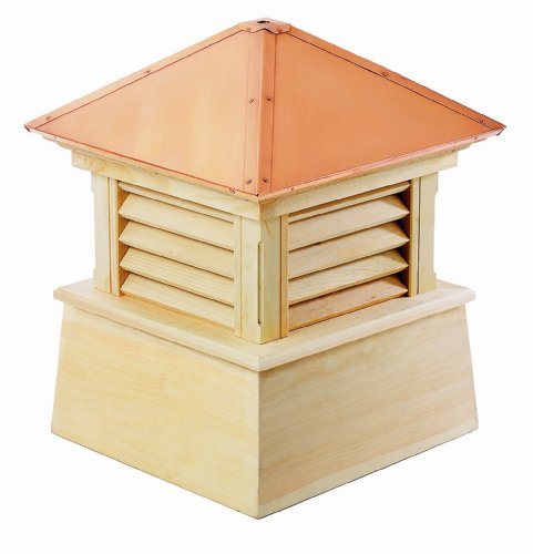 Pine Cupola (Good Directions 2118M Wood Manchester Louvered Cupola with Hip Style Copper Roof and Smooth Base, 18-Inch Square 22-Inch)