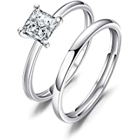 JewelryPalace Princess Cut 0.6ct Cubic Zirconia Wedding Band Solitaire Engagement Ring Bridal Sets 925 Sterling Silver