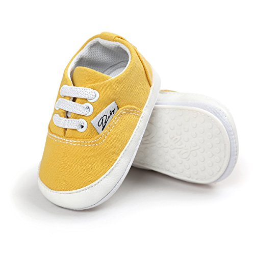 RVROVIC Baby Boys Girls Shoes Canvas Toddler Sneakers Anti-Slip Infant First Walkers 12Color (13cm (12-18months), Yellow) (Disney Shoes Baby Size 5)