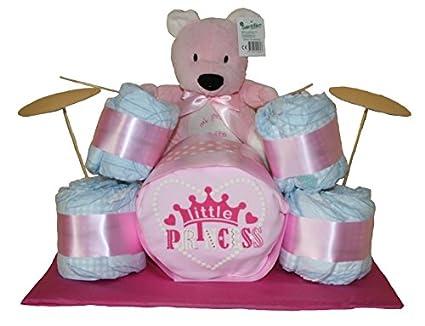Batería de pañales en color rosa. Regalo original bebé niña - tarta de pañales -