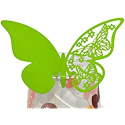 50 pcs Butterfly Shimmer Laser Cut Design Wine Glass Name Place Cards for Wedding Party Decoration (Grass Green)