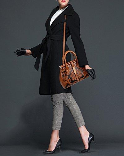 Leather Bags Top Handbag Shoulder Ladies Totes Fashion Handle PU Brown Satchel Bags Women's xIwYPqAEnw