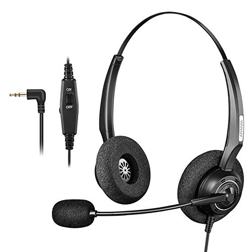 Arama 2.5mm Phone Headset w/Noise Canceling Boom Mic in-line Volume Mute-Switch for Panasonic Cordless Phones and Grandstream Polycom Cisco Linksys SPA Panasonic Gigaset (2.5mm-Black-Binaural)