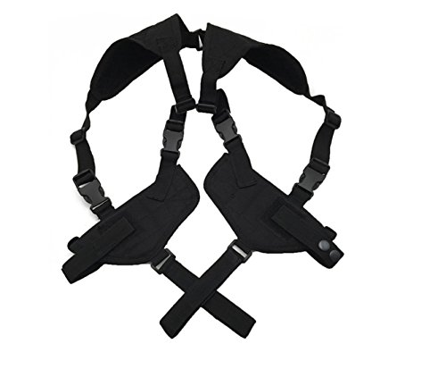 ZHW Tactical Universal Double Draw Shoulder Holster,Versatile Breathable Concealed Carry for Pistol Handgun Gun,Adjustable Elastic Band for Women Men (black) (Shoulder Strap Gun Holster Costume)