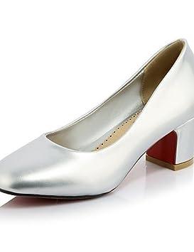 GGX/ Zapatos de mujer-Tacón Robusto-Tacones / Punta Cuadrada-Tacones-Oficina y Trabajo / Casual-Cuero Patentado-Rosa / Plata / Caqui , pink-us10.5 / eu42 / uk8.5 / cn43 , pink-us10.5 / eu42 / uk8.5 /