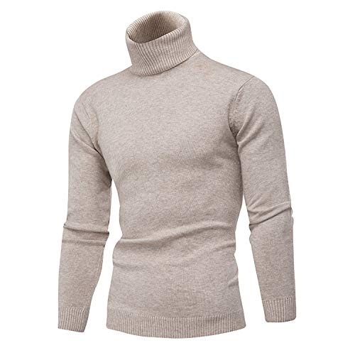 Autumn and Winter New Men's Pullover Stylish Slim Stretch high Color Warm Sweater.Size S-3XL,Beige,M