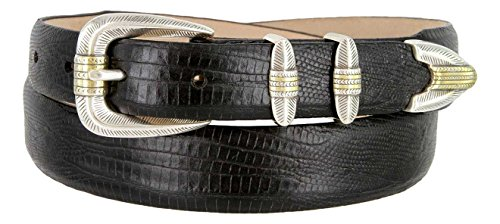 - Manila Genuine Italian Leather Designer Dress Golf Belt (Lizard Black,38)