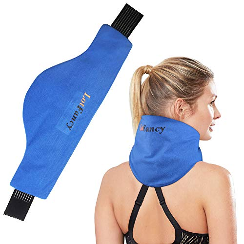 LotFancy Neck Ice Pack Wrap, Hot Cold Therapy for Shoulder, Cervical, Medical Cooling Gel Pack for Arthritis, Tendonitis, Sports Injuries, Migraines, Headache, Microwavable Heating Pad