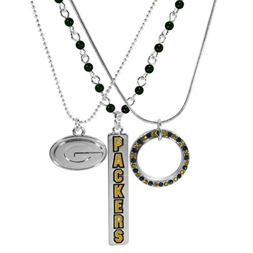 NFL Green Bay Packers Trio Necklace Set, 16