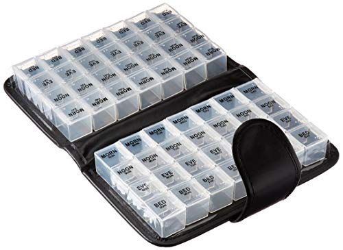 14 Day Pill & Vitamin Organizer 2 Weeks AM/PM 4 Doses a Day Travel Case Handy & Portable