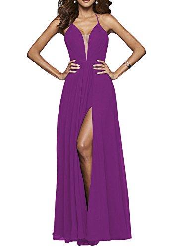 Robe De Bal Licol Femmes Dys Avec Fente Robes De Soirée Longues Plissée Sexy Dos Violet
