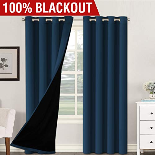Lined Window Curtain Panel - H.VERSAILTEX 100% Blackout (2 Panels) Solid Navy Curtains Extra Long Patio Curtain Panels Faux Silk Lined Curtain Drapes Thermal Insulated Window Treatments for Bedroom/Living Room, 52