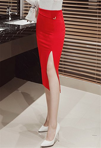 DaBag Gonna Midi Donna Svasata Vita Alta A-Line Colore Solido Moda Gonne Slim Laterale Gambe Dell'Anca Vita Alta Rosso