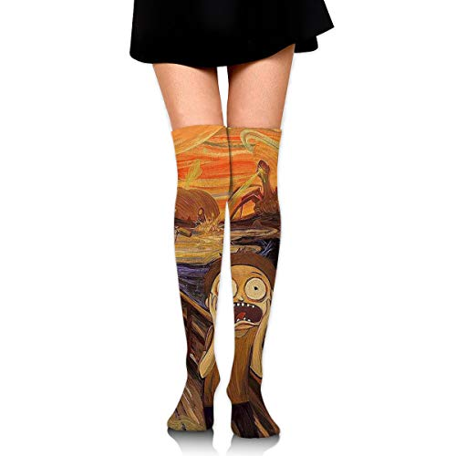 Guoxichangtuiwa Oil Painting Style Monster Scream Horror Women's Girl's Breathable Cotton Comfortable Fashion Over The Knee High Leg Athletic Thigh Highs Socks,Cosplay Socks