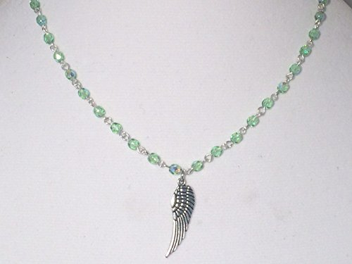 Peridot Czech Glass Rosary Chain Silver Wing Pendant Necklace