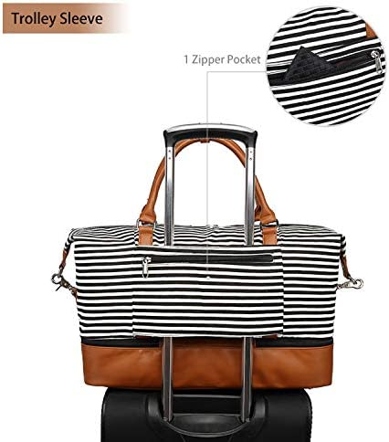 Women Canvas Travel Weekender Bag Overnight Carrying Tote Bag PU Leather with Shoe Compartment Duffle