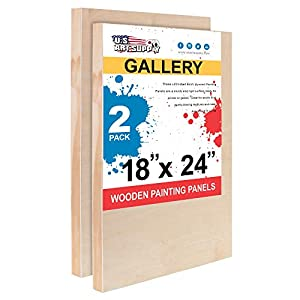 U.S. Art Supply 24″ x 30″ Birch Wood Paint Pouring Panel Boards, Gallery 1-1/2″ Deep Cradle (Pack of 2) – Artist Depth Wooden Wall Canvases – Painting Mixed-Media Craft, Acrylic, Oil, Encaustic