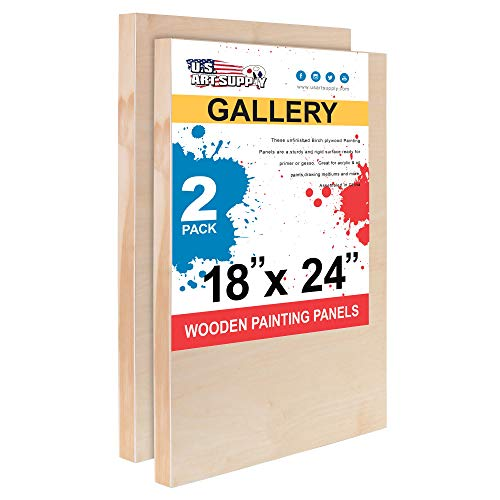 U.S. Art Supply 18 x 24 Birch Wood Paint Pouring Panel Boards, Gallery 1-1/2 Deep Cradle (Pack of 2) - Artist Depth Wooden Wall Canvases - Painting Mixed-Media Craft, Acrylic, Oil, Encaustic