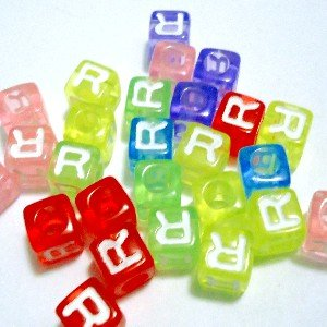50 pieces 6mm 'R' Transparency Cube Individual Letter Beads - KB0519