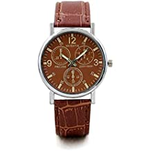 Windoson Mens Quartz Watches Luxury Blue Glass Face Leather Band Wrist Watch Alloy Analog Classic Business Watches for Men, Mens Watches (C)