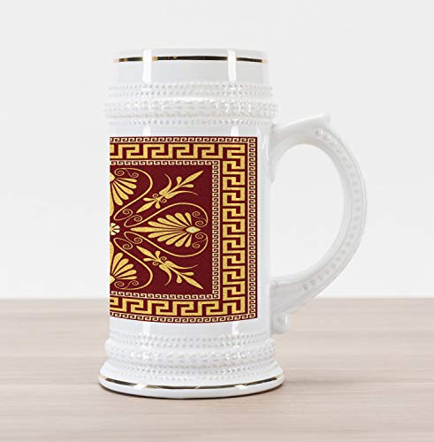 Ambesonne Greek Key Beer Stein Mug, Old Fashioned Frame Design with the Greek Labyrinth and Curly Leaves Flowers, Traditional Style Decorative Printed Ceramic Large Beer Mug Stein, Ruby Yellow