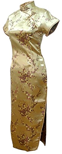 7Fairy Women's Sexy VTG Gold Floral Long Chinese Prom Dress Cheongsam Size 2 US