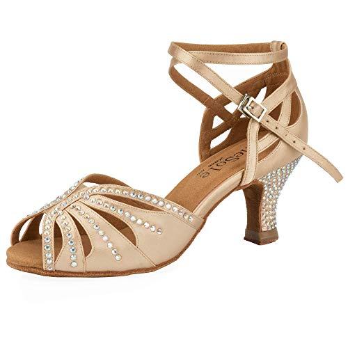 Women's Rhinestone Dance Shoes, Super Light for Latin, Salsa, and Ballroom Dancing (Nude) US Size 9 (Dance Shoes For Women Salsa)