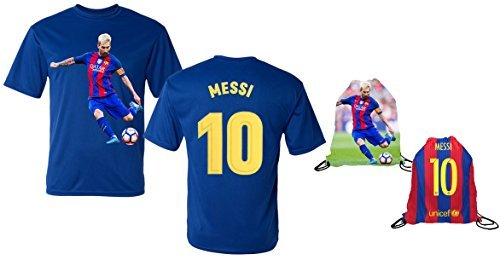 Messi Jersey Style T-shirt Kids Lionel Messi Jersey T-shirt Gift Set Youth Sizes  Premium Quality   Soccer Backpack Gift Packaging (YL 10-13 Years Old, Messi)