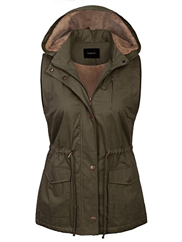 (KOGMO Womens Fur Lined Anorak Safari Vest with Detachable Hoodie (S-3X)-M-Olive)