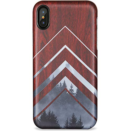 XS Case,ZADORN Protective Thin Cover for Girls Women Men Clear Bumper Soft Silicone TPU Slim Fit Cute Best Phone Case for iPhone X/XS Fashion Design Red Wood and Grey Forest ()