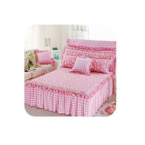 Pretty-Shop sheets Cotton Bed Skirt Cover Sheet with Elastic Floral Bedlinen Single Double Full Twin Twill Size Bed Sheet Set for Kids Girls,Bed Skirt 18,90cmX200cm 3pcs (Pillows Couch Ebay)
