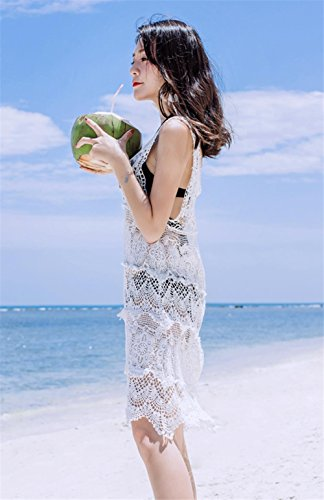 Mujeres Nueva Crochet Vestido Hueco Bikini Blusa Beach Cover Up , white , one-size White