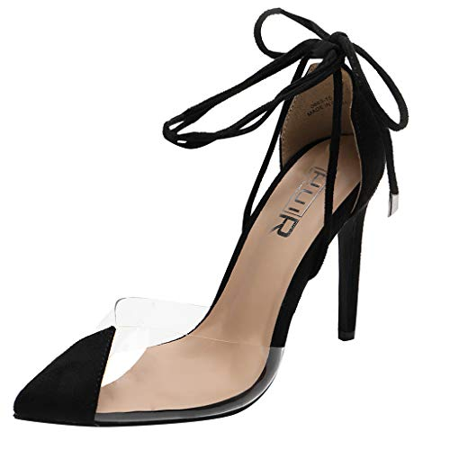 ✔ Hypothesis_X ☎ Women's Pointed Toe Open Toe Strappy High Heel Leather Pumps Stilettos Sandals Transparent Sandals Black