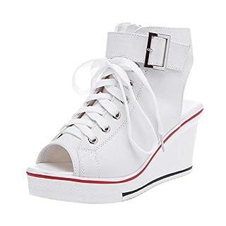 Women's Peep Toe Canvas Wedge Heeled Platform Fashion Sneaker #4 White Label 43 - US 10